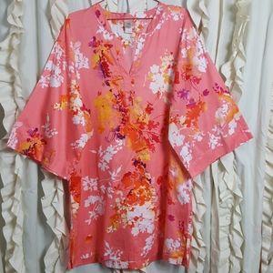 Natori SPRING floral kimono sleeve sleep shirt